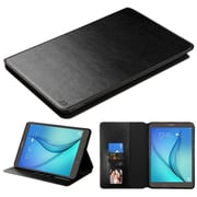 Insten Book-Style Leather Fabric Cover Case w/stand/card slot/Photo Display For Samsung Galaxy Tab A 9.7 - Black (2181413)