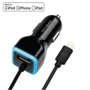 "Insten Black 2.1A Lightning (MFI Certified) Car Charger w/1A USB Port For iPad Air/Pro (9.7"")/Mini iPhone 6/6s Plus/SE"