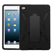 Insten Hybrid Dual Layer PC/Silicone Rugged Case Cover w/ Kickstand Impact Resistant, Apple iPad Mini 4 2015 - Black (2166887)