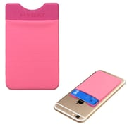 Insten 3M Adhesive Card Pouch Sticker Credit Card Holder Sleeve Cover Universal Mobile Phone - Pink