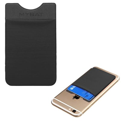 Insten 3M Adhesive Card Pouch Sticker Credit Card Holder Sleeve Cover Universal Mobile Phone - Black
