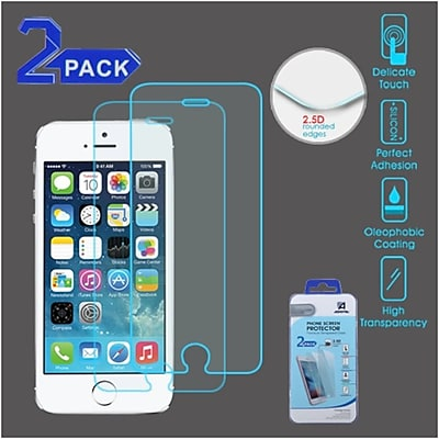 Insten 2-Pack Clear Tempered Glass Screen Protector For IPhone 5/5C/5S/SE