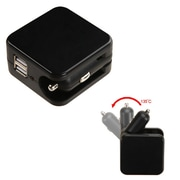 Insten Black Dual USB Port 2-in-1 Car / Travel AC Wall Charger For Smartphone Tablet Universal & USB-Powered Devices