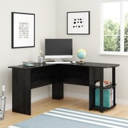 "Ameriwood Home Dakota 51""W L-Shaped Desk with Bookshelves, Black Oak (9354026PCOM)"