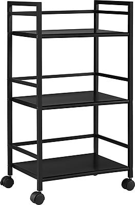 Ameriwood Home Marshall 3 Shelf Metal Rolling Utility Cart, Black (7741196PCOM)
