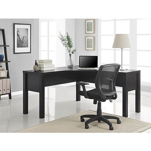 "Ameriwood Home Princeton 59""W L-Shaped Desk, Espresso (9820096)"