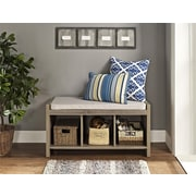 Ameriwood Home Penelope Entryway Storage Bench with Cushion, Distressed Gray Oak (7522396PCOM)