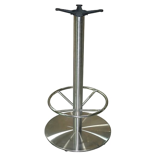 "JI Bases 22"" Round Stainless Steel Bar-Height Table Base - 3"" Column with Footring and 13"" Top Plate (JIS3-22RDTP12BF)"