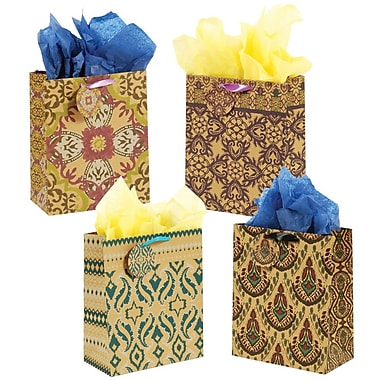 Flomo- Large Gift Bags, DAMASK on KRAFT, 12/Pack, (KFRB717L)