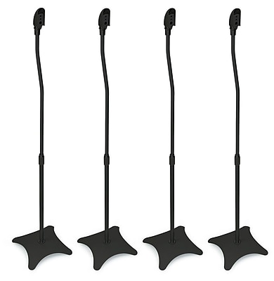 Mount-It! Universal Satellite Surround Sound Home Theater Theatre Speaker Stands - Black (Set of 4)-(MI-1214B)