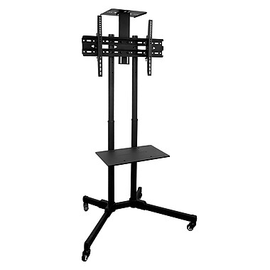 mountit mi876 tv cart mobile tv stand wheeled height adjustable flat