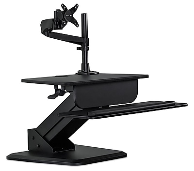 Mount-It! Mi-7911 Sit-Stand Desk Converter and Height Adjustable Monitor Mount Combo Workstation, Black