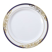 """Fineline Settings - Signature Blu 7.5"""" White Salad Plate with Cobalt Trim and Gold Stamping, 10/Pk 12/Cs - 120/Ps (4907-WHBG)"""