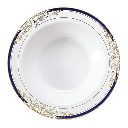 Fineline Settings - Signature Blu 12 Oz. White Bowl with Cobalt Trim and Gold Stamping, 10/Pack 12/Case - 120/Pieces (4912-WHBG)