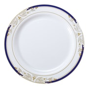 """Fineline Signature Blu 10.25"""" White Dinner Plate with Blue and Gold Trim Stamping, 120/CS (4910-WHBG)"""