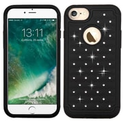 Insten Hard HybrId Rubber Coated SIlIcone Case w/DIamond For Apple IPhone 7 - Black