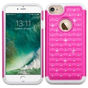 Insten Hard HybrId Rubber Coated SIlIcone Cover Case w/DIamond For Apple IPhone 7 - Hot PInk/WhIte