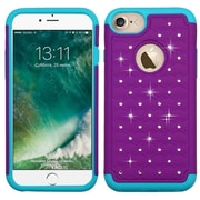 Insten Hard HybrId Rubber Coated SIlIcone Cover Case w/DIamond For Apple IPhone 7 - Purple/Teal