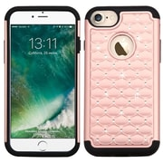 Insten Hard HybrId SIlIcone Cover Case w/DIamond For Apple IPhone 7 - Rose Gold/Black