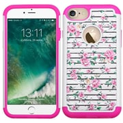 Insten Fresh Roses Hard HybrId Rubber SIlIcone Cover Case w/DIamond For Apple IPhone 7 - PInk/WhIte