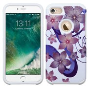 Insten HIbIscus Flower Romance Hard Dual Layer Rubber SIlIcone Cover Case For Apple IPhone 7 - Purple/WhIte