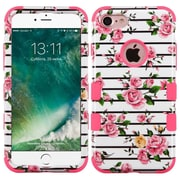 Insten PInk Fresh Roses/ElectrIc PInk TUFF HybrId Dual Layer Phone Case Cover for Apple IPhone 7
