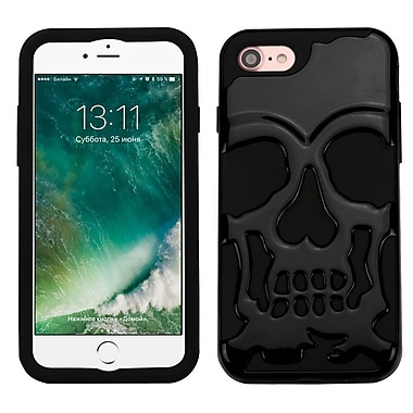 Insten Solid Black/Black Skullcap Hybrid Dual Layer Case Cover for Apple iPhone 7/ 8