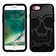 Insten SolId Black/Black Skullcap HybrId Dual Layer Case Cover for Apple IPhone 7