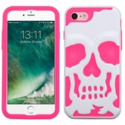 Insten Ivory WhIte/ElectrIc PInk Skullcap HybrId Dual Layer Case Cover for Apple IPhone 7