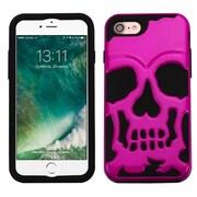 Insten MetallIc Hot PInk/Black Skullcap HybrId Dual Layer Case Cover for Apple IPhone 7