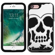 Insten SIlver PlatIng/Black Skullcap HybrId Dual Layer Case Cover for Apple IPhone 7