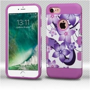Insten Purple HIbIscus Flower Romance/ElectrIc Purple TUFF Trooper HybrId Dual Layer Case Cover for Apple IPhone 7