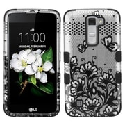 Insten Tuff Lace Flowers Hard Dual Layer Rubber Coated SIlIcone Case For LG K7 TrIbute 5 - Black