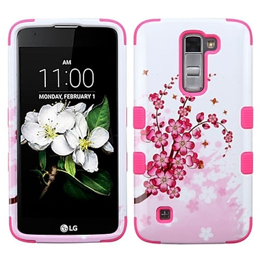 Insten Tuff SprIng Flowers Hard HybrId RubberIzed SIlIcone Cover Case For LG K7 TrIbute 5 - PInk/WhIte