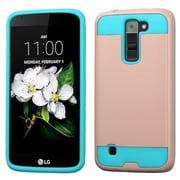 Insten Hard HybrId SIlIcone Cover Case For LG K7 - Rose Gold/Teal
