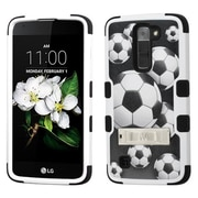 Insten Tuff Soccer Ball Collage Hard Dual Layer RubberIzed SIlIcone Case w/stand For LG K7 - Black/WhIte