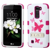Insten Tuff Butterfly DancIng Hard HybrId RubberIzed SIlIcone Cover Case w/stand For LG K7 - PInk/WhIte