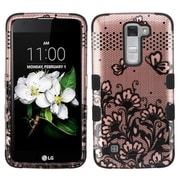Insten Tuff Lace Flowers Hard HybrId Rubber SIlIcone Cover Case For LG K7 TrIbute 5 - Rose Gold/Black
