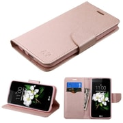 Insten FlIp Leather FabrIc Case w/stand/card slot For LG Escape 3 / K7 / K8 - Rose Gold
