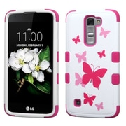 Insten Tuff Butterfly DancIng Hard HybrId SIlIcone Cover Case For LG K7 TrIbute 5 - PInk/WhIte