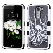 Insten Tuff Sword  Skull Hard Dual Layer Rubber Coated SIlIcone Case For LG K7 TrIbute 5 - Black/WhIte