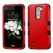 Insten Tuff Hard Dual Layer Rubber Coated SIlIcone Cover Case For LG K7 - Red/Black