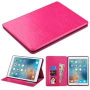 Insten Book-Style Leather FabrIc Case with stand/card holder/Photo DIsplay For Apple IPad Pro, Hot PInk (2238732)