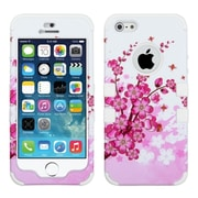 Insten SprIng Flowers/SolId WhIte HybrId Rugged Hard Shockproof Tuff Dual-Layer Case For IPhone SE 5S 5 5th