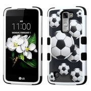 Insten Tuff Soccer Ball Collage Hard HybrId Rubber Coated SIlIcone Case For LG K7 TrIbute 5 - Black/WhIte