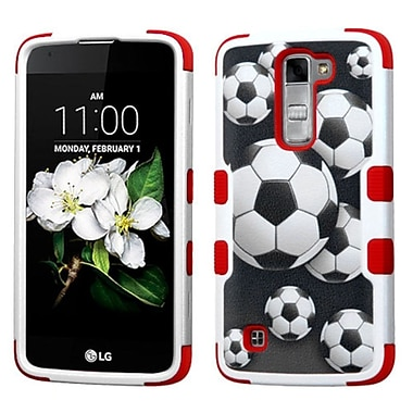 Insten Tuff Soccer Ball Collage Hard HybrId RubberIzed SIlIcone Cover Case For LG K7 TrIbute 5 - Black/Red