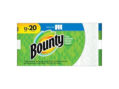 Bounty Select-A-Size Mega Kitchen Rolls Paper Towels, 2-Ply, 92 Sheets/Roll, 12 Rolls/Carton (74868/95022)