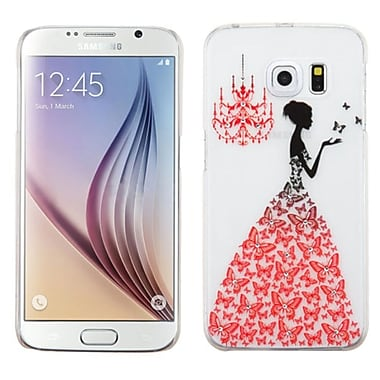 Insten Butterfly Gown Hard Rubber Cover Case For Samsung Galaxy S6 - WhIte/Red