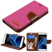 Insten Book-Style Leather FabrIc Case w/stand/card slot/Photo DIsplay For Samsung Galaxy S7 - PInk