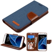 Insten FlIp Leather FabrIc Case w/stand/card slot For Samsung Galaxy S7 - Blue
